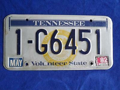 License Plate Tennessee  1982 1 G 6451 Usa Hot Rod Shop Man Cave Sign Decor