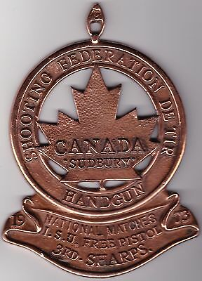 1973 Canadian Shooting Federation De Tir - large heavy copper medallion