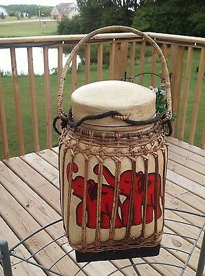 vintage ornate hand painted Thailand Asian storage basket jug bamboo & rattan