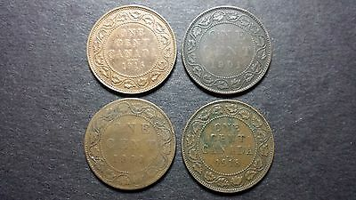 Canada Large Cent Coin Lot - 4 Coins - 1901, 1909, 1916, 1918