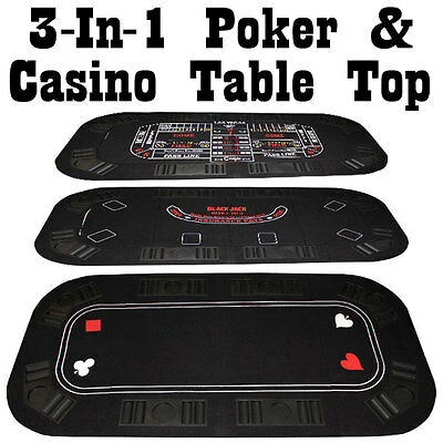 Portable 3-In-1 Poker & Casino Folding Table Top with Chip Trays & Cup Holders