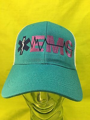 NEW Embroidered EMS Medical Star Of Life Rescue Teal & White Mesh Hat Cap