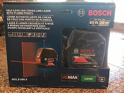 Bosch Self-Leveling Cross-Line Laser with Plumb Points GCL2-160 new