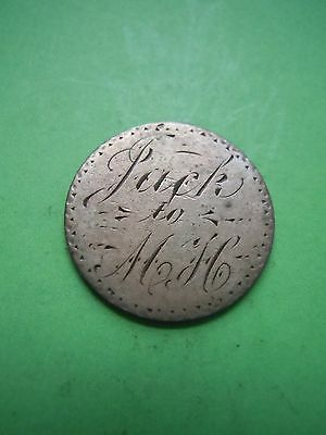 "1884 Seated Liberty Dime Engraved ""jack To Mh"" Love Token Keepsake Charm Estate"