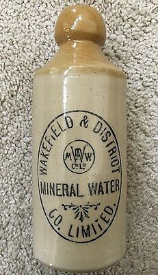 """Vintage """"WAKEFIELD & DISIRICT CO. LIMITED MINERAL WATER"""" Stoneware *1800's"""