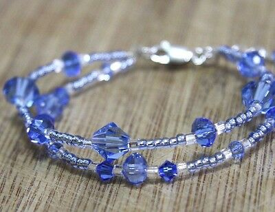 Tanzanite Blue Crystal Bracelet in Solid Sterling Silver December Birthstone