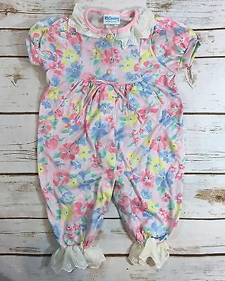 Vintage 90s Carters Baby Girl Pink Floral Print One-Piece Romper Size Medium