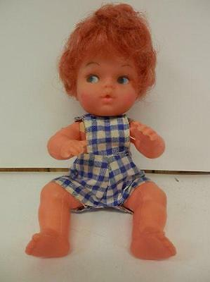 "Vintage PLASTIC Doll 4-Jointed Limbs 6 1/2""  Red Head Baby Girl HONG KONG"