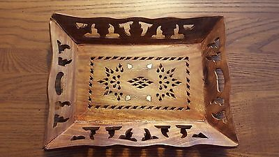 """Hand Carved Wood Serving Tray Platter 10"""" x 8"""" -Damaged - See Photos"""