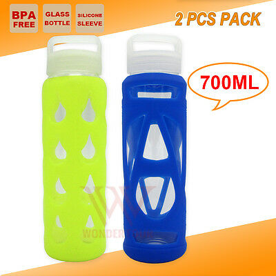 2X Glass Bpa Free Water Bottle Gym Training Yoga Sport Camping Hikining Outdoor