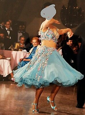 Vintage Blue Street Length Custom Competition Ballroom Gown Costume Dress Size 6