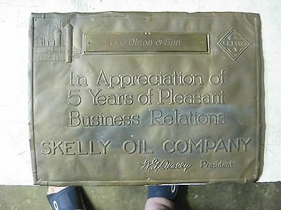 Vintage Skelly embossed brass sigh Skelly Oil Co Gasoline collectible Rare