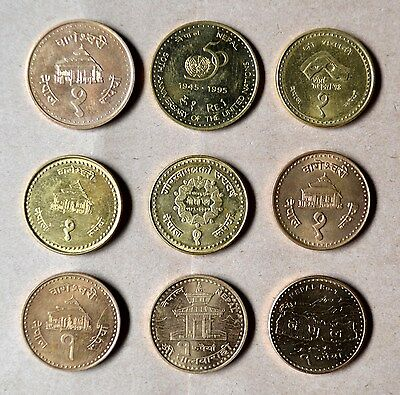 NEPAL : Lot of 9 Different 1 Rupee Coins, UNC.