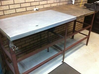 work bench steel frame wood top