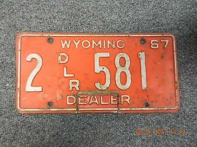 1967 Wyoming License Plate  tag 2 DLR 581 Dealer Plate