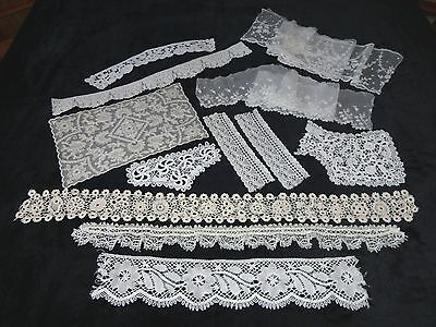 Collection Of Antique & Vintage Lace Items For Projects/Crafts/Dolls Clothes