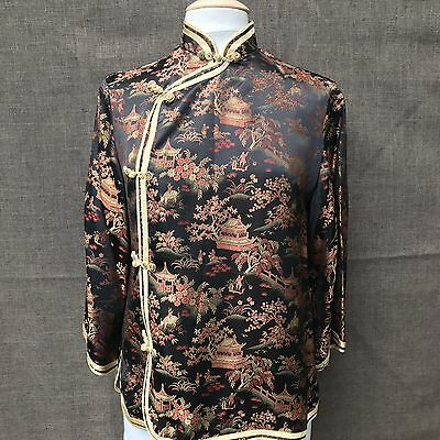 Vtg Peony Brand Womens Chinese Jacket Mandarin Collar Black Gold Red Rayon -L