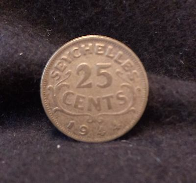 1944 British Seychelles silver 25 cents, scarce - only 36,000 minted, KM-2
