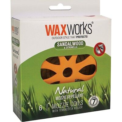 WaxWorks Terracotta Holder with 6 Natural Mozzie Repellent Coils Citronella & Sa