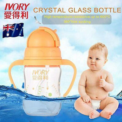 IVORY PP Feeding Bottle with Straw/Handle BPA Free Safe and Non-toxic Durable OP