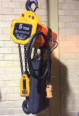 Hitachi 5F 5 Ton Electric Chain Hoist 3ph Single Speed 3m Lift & Beam Trolley