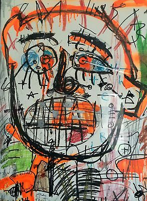 Awesome Large Original Mixed Media Paul Kostabi Painting On Paper Prof Frame