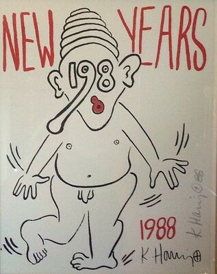 Awesome Keith Haring Silkscreen 1988 Signed In Pencil Professional Frame Plexi