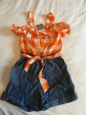 BNWT  Girl's Orange and Denim Next Playsuit Age 8 years