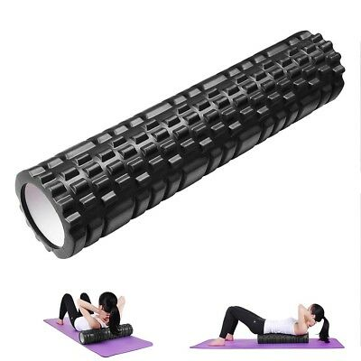 62cm Black Yoga Foam Roller Trigger Point Massage Pilates Physio Gym Exercise