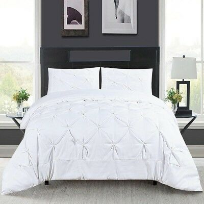 3 Piece Pintuck Pleated Ruched Comforter Set Quilt Coverlet Bedding King White