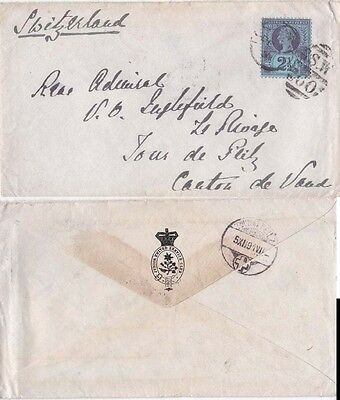 G.B. 1891 Cover Letter from  son to Admiral Inglefield in Switzerland