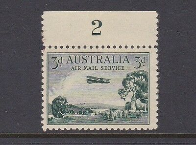 AUSTRALIA 1929 3d GREEN AIRMAIL TYPE A PLATE BLOCK No2 MUH