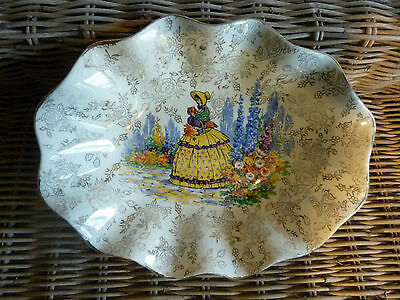 """Vintage James Kent """"CRINOLINE LADY"""" Oval Shaped Dish -- Made in England  A/F"""
