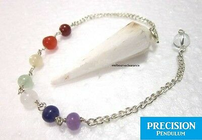 Scolecite 12-Faceted Crystal Gemstone Precision Pendulum w/ Chakra Chain Dowsing
