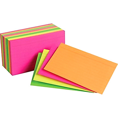 Index Cards Staples 3 x 5 Inch Line Ruled Neon Assorted Color Pack of 300 Pieces