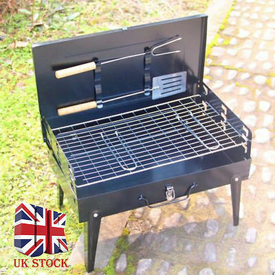 Black BBQ Barbecue Grill Folding Light Portable Charcoal Travel Picnic Tools UK*
