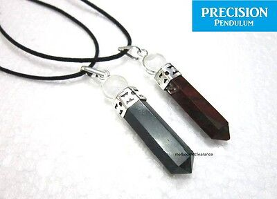 Bloodstone Point w/ Quartz Crystal Ball Top Precision Pendulum Pendant Necklace