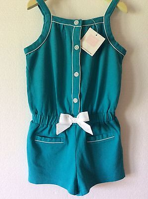 Janie & Jack Poolside Palms Turquoise Blue Green Romper White Bow Size 6 NWT NEW