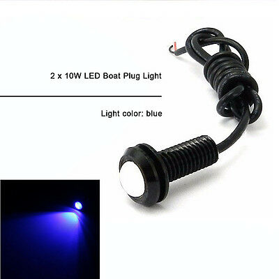 "2PCS 10W Boat Drain LED Light Plug Blue Lamp 1/2"" NPT For Underwater Fish Marine"