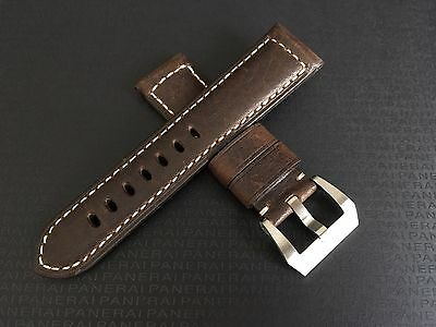 24mm Dark Brown Genuine Leather Watch Strap For Panerai