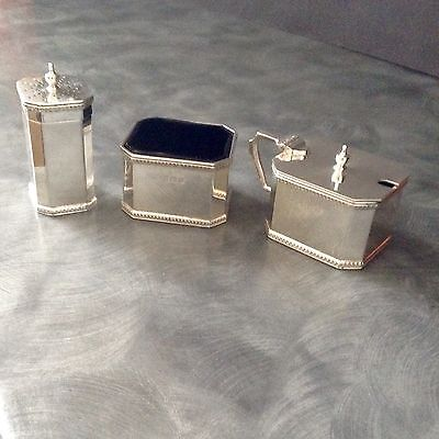 Very Heavy Solid Silver Art Deco Cruet Set 249 Grams