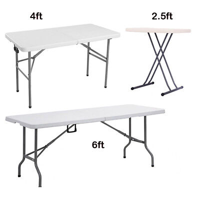 Portable Folding Trestle Table Heavy Duty Plastic Adjust Leg Camping Party BBQ