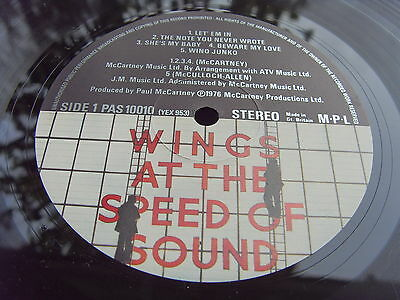 WINGS McCartney AT THE SPEED OF SOUND 1976 1st Press UK LP MINT- COPY Beatles