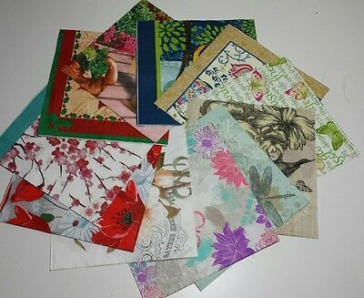 12 Assorted Mixed Paper Napkins/Serviettes for Decoupage/Napkin Art/mixed media
