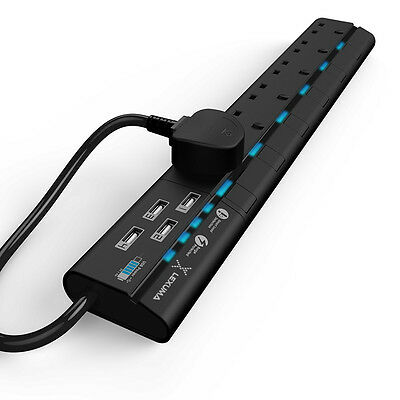 UK Black Power Strip Surge Protected 6 Way Outlets with 4 USB Charging