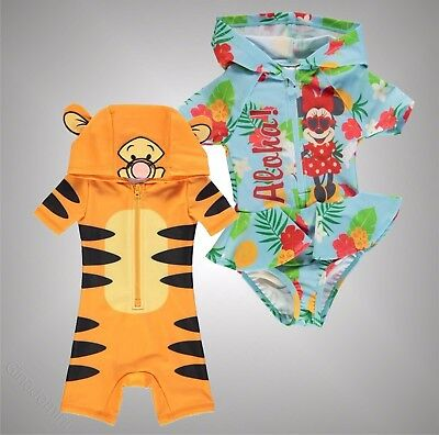Baby Boys Girls Branded Disney Printed Hooded Swim Suit Swimwear Size 3-24 Mnth