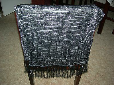 Ladies black & silver sparkling evening stole/shawl - as new