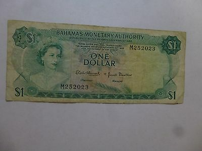 Old Bahamas Paper Money Currency - #27 1968 1 Dollar - Well Circulated