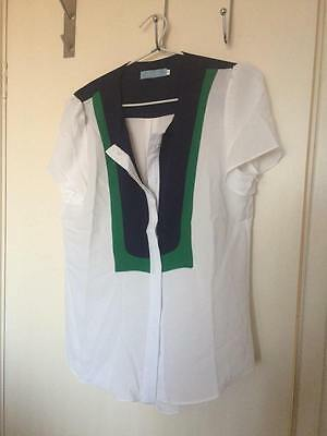 RRP$30 NEW NEVER WORN Women's White Top, Navy collar Size XL