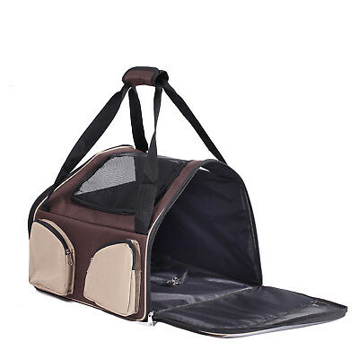 Brown Pet Carrier Dog Cat Car Booster Seat Soft Crate Folding Kennel Travel AU28